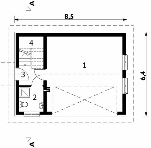 Проект гаража №103 на две машины с мансардой и хозблоком