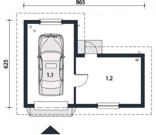 Проект гаража №108 на одну машину с хозблоком