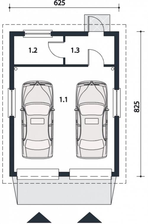 Проект гаража №111 на две машины с хозблоком