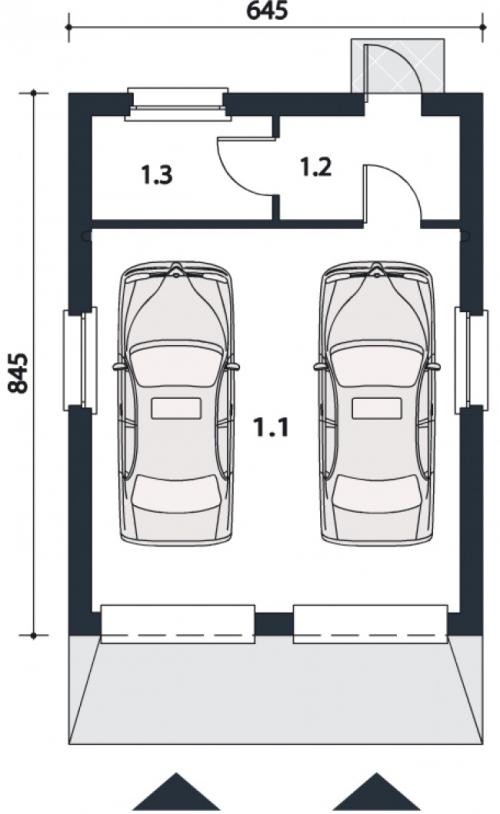 Проект гаража №112 на две машины с хозблоком