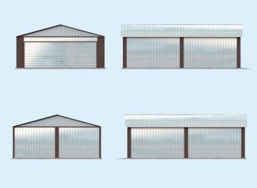 Проект гаража №113 на две машины с хозблоком