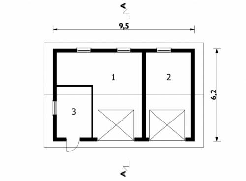 Проект гаража №115 на две машины с хозблоком