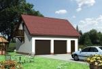 Проект гаража №223 на две машины с мансардой и хозблоком