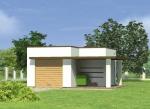 Проект гаража №153 на одну машину с хозблоком и навесом