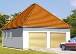 Проект гаража №158 на две машины с хозблоком