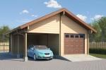 Проект гаража №162 на две машины с хозблоком и навесом