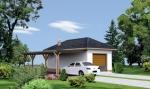 Проект гаража №199 на две машины с хозблоком