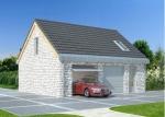 Проект гаража №208 на две машины с мансардой и хозблоком