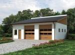Проект гаража №218 на две машины с хозблоком