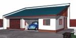 Проект гаража №222 на две машины с хозблоком