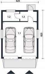 Проект гаража №109 на две машины с хозблоком