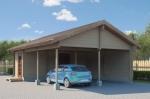 Проект гаража №121 на две машины с хозблоком и навесом