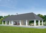 Проект гаража №240 на три машины с мансардой, хозблоком и навесом