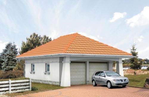 Проект гаража №128 на две машины с хозблоком