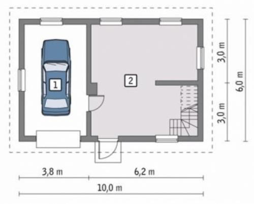Проект гаража №130 на одну машину с мансардой и хозблоком