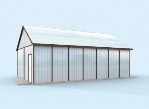Проект гаража №132 на две машины с хозблоком