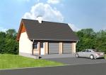 Проект гаража №226 на две машины с мансардой и хозблоком
