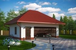 Проект гаража №219 на две машины с мансардой и мастерской комнатой
