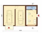 Проект гаража №124 на две машины с хозблоком и навесом