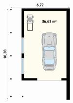 Проект гаража №127 на одну машину с хозблоком