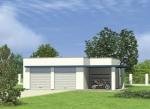 Проект гаража №186 на две машины с хозблоком и навесом