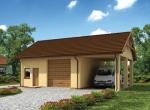 Проект гаража №228 на одну машину с хозблоком и навесом