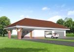 Проект гаража №241 на три машины с хозблоком и навесом