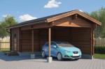 Проект гаража №44 на одну машину с хозблоком и навесом